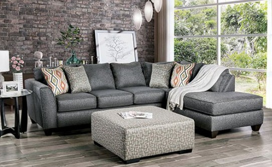 SM5152 2 pc Earl gray chenille fabric sectional sofa set with chaise