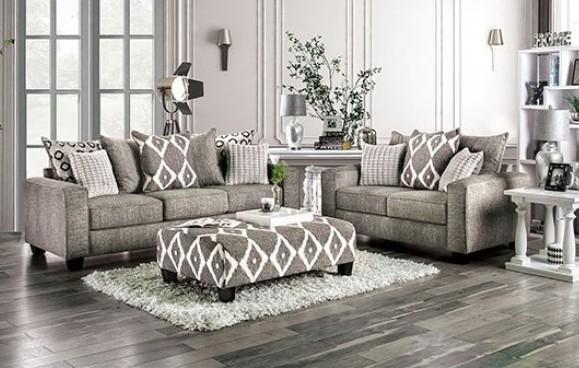 SM5156 2 pc Basie gray burlap weave fabric sofa and love seat set