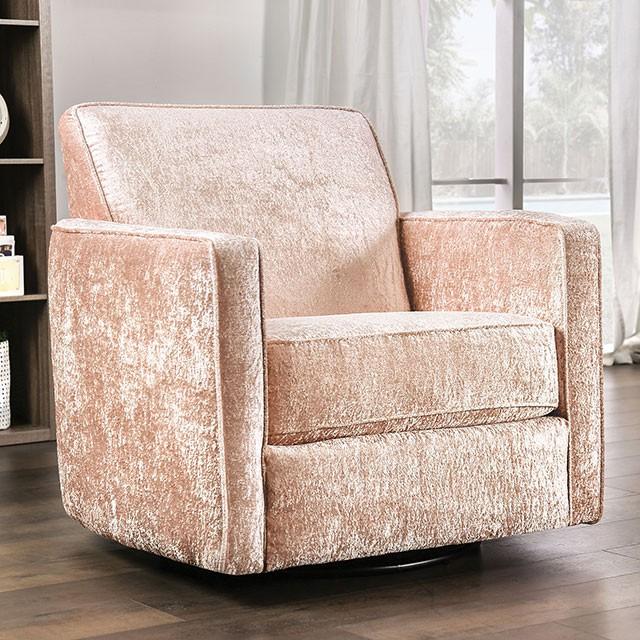 SM5167CH Hokku designs Harriden coral faux crushed velvet fabric swivel chair