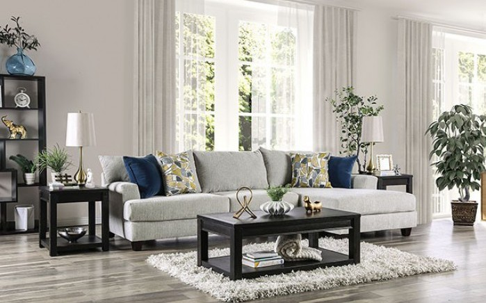 SM5208 2 pc Canora grey viktor light gray linen like fabric sectional sofa with chaise