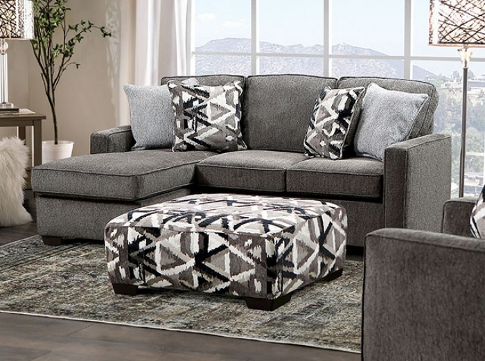 SM5405 2 pc Brentwood gray linen like fabric sectional sofa set with squared arms and chaise