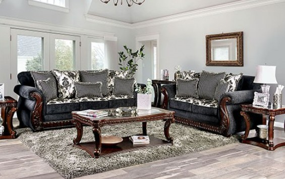 SM6218 2 pc Whitland gray fabric sofa and love seat set rounded arms wood trim