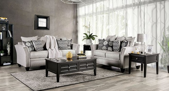 SM6221 2 pc Darby home co chasse talgarth gray chenille fabric sofa and love seat set