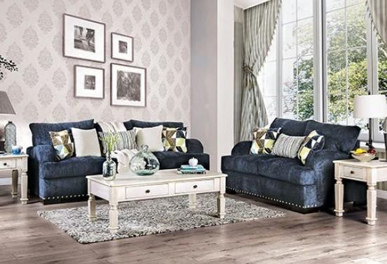 SM6222 2 pc Nefyn navy chenille fabric sofa and love seat set