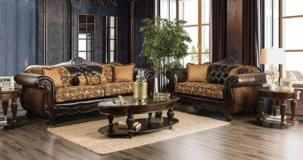 SM6417 2 pc Quirino tan / dark brown sofa and love seat set with carved wood accents