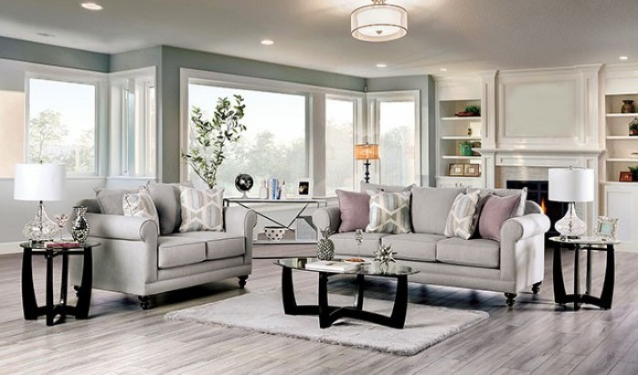 SM6435 2 pc Rosdorf park kacey light gray chenille fabric sofa and love seat set