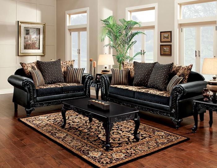 SM7505N 2 pc Rosdorf park theodora black / tan fabric and leatherette wood trim sofa and love seat set