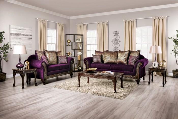 SM7743 2 pc Rosdorf park casilda purple chenille wood trim sofa and love seat set
