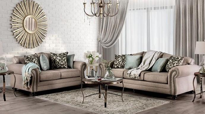 SM8006 2 pc Jerauld dark taupe chenille fabric sofa and love seat set