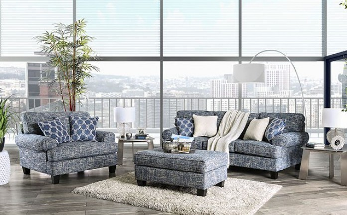 SM8010 2 pc Canora grey pierpont blue burlap weave fabric sofa and chair and a half set