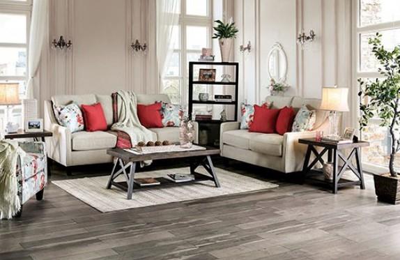 SM8014 2 pc Rosdorf park myra nadene ivory chenille fabric sofa and love seat set