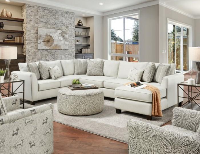 SM8188 3 pc Rosdorf park pocklington ivory chenille fabric sectional sofa with chaise