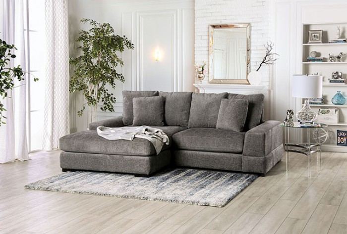 SM9111 2 pc Canora grey Ainsley charcoal gray chenille fabric sectional sofa with chaise