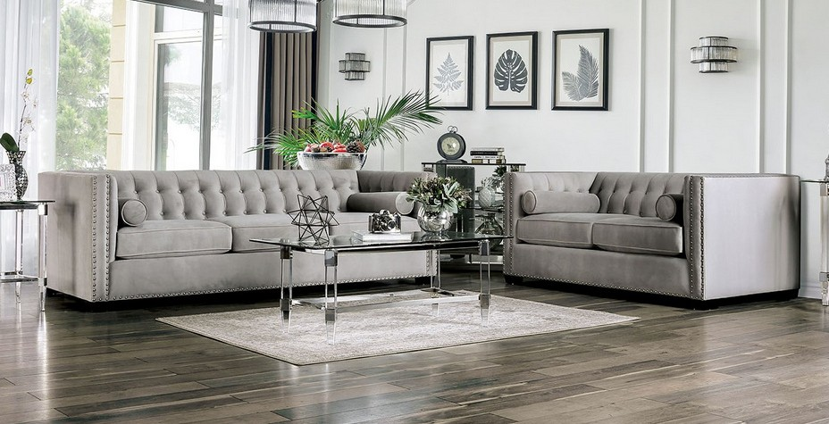 SM9115 2 pc House of hampton tuck elliot light gray velvet like tufted fabric sofa and love seat set