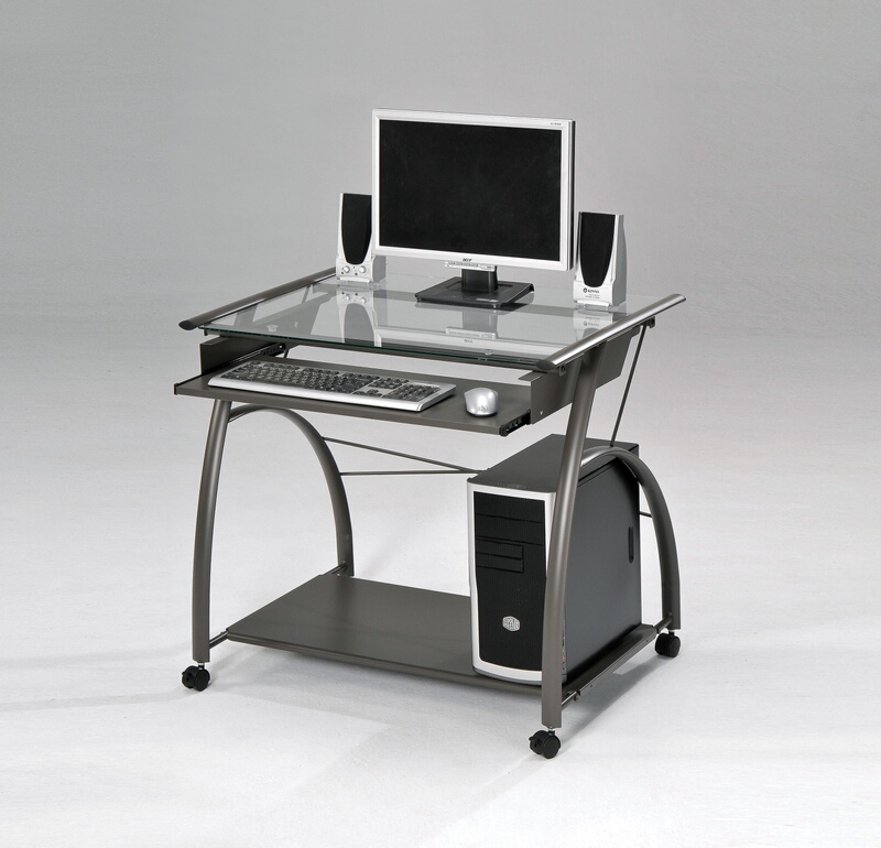 Acme 00118 Vincent pewter metal glass computer desk clear glass top