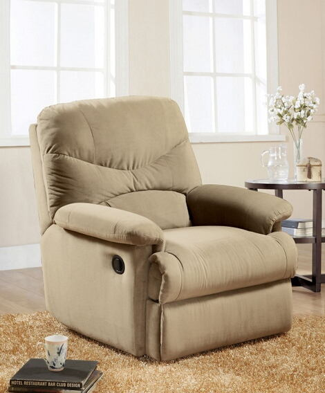 Arcadia beige microfiber fabric standard motion reclining recliner chair with overstuffed seats and arms