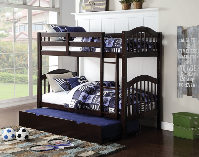 Acme 02554 Heartland espresso finish wood twin over twin bunk bed set with trundle