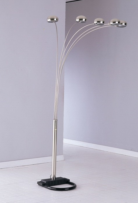 Acme 03600N 5 cap peacock nickel finish metal floor lamp