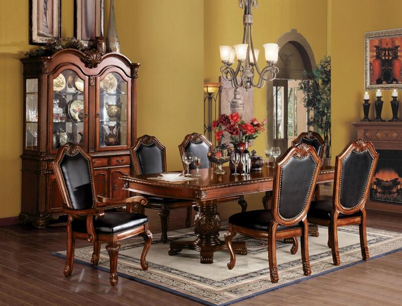 Acme 04075-10038 7 pc Astoria grand liam chateau de ville cherry finish wood double pedestal dining table set