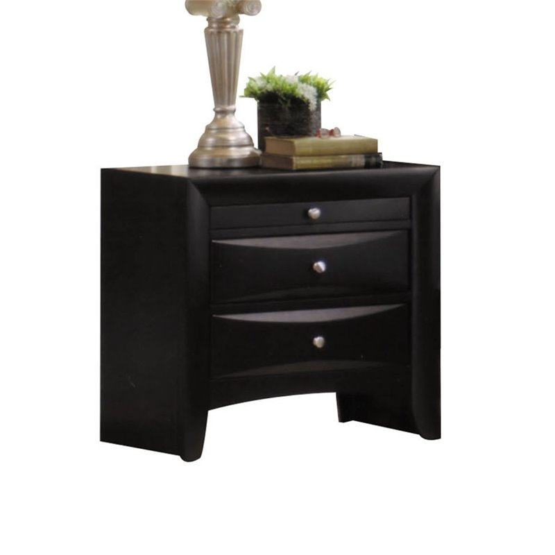 Acme 04163 Ireland black finish wood 2 drawer nightstand bed side end table