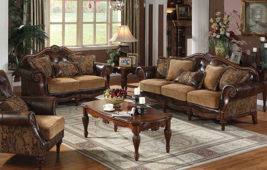 2 pc dreena collection two tone chenille fabric and bonded leather upholstered sofa and love seat with wood trim accents