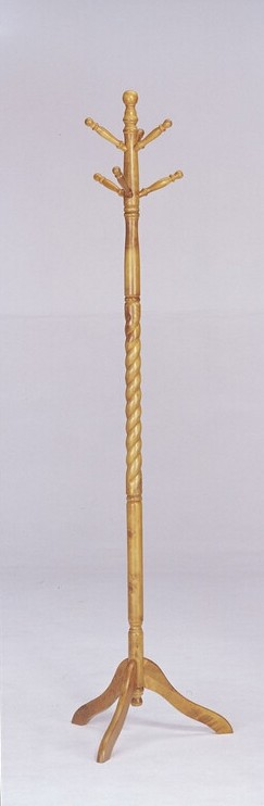 """Acme 06323 2"""" diameter braided oak finish wood coat rack 6 spindles for hanging coats and hats"""
