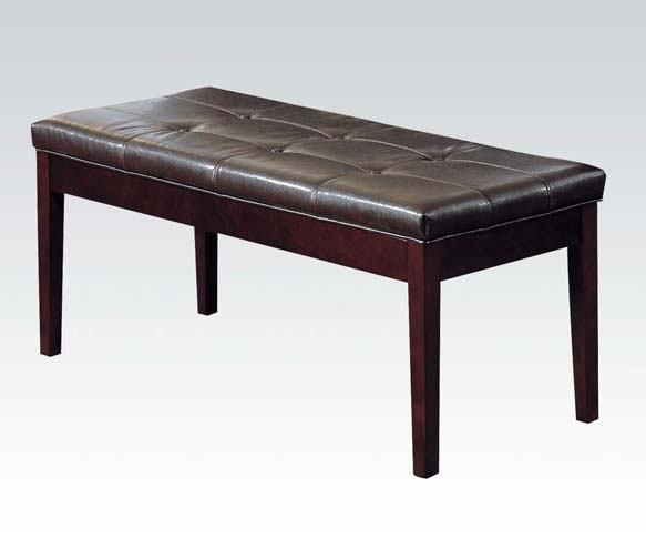 Danville collection walnut finish wood dining / bedroom bench with brown faux leather upholstery