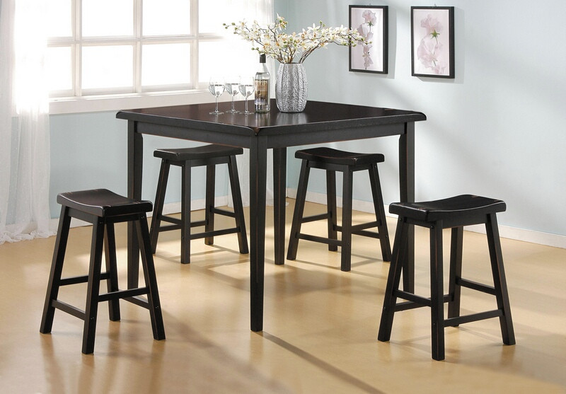 Acme 07288 5 pc Gaucho black finish wood counter height bar table set