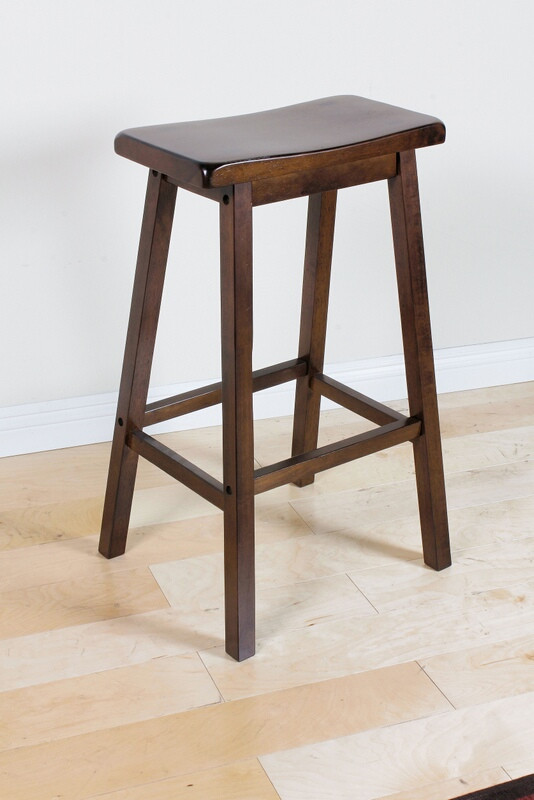 Acme 07306 Set of 2 gaucho walnut finish wood farmhouse style bar stools