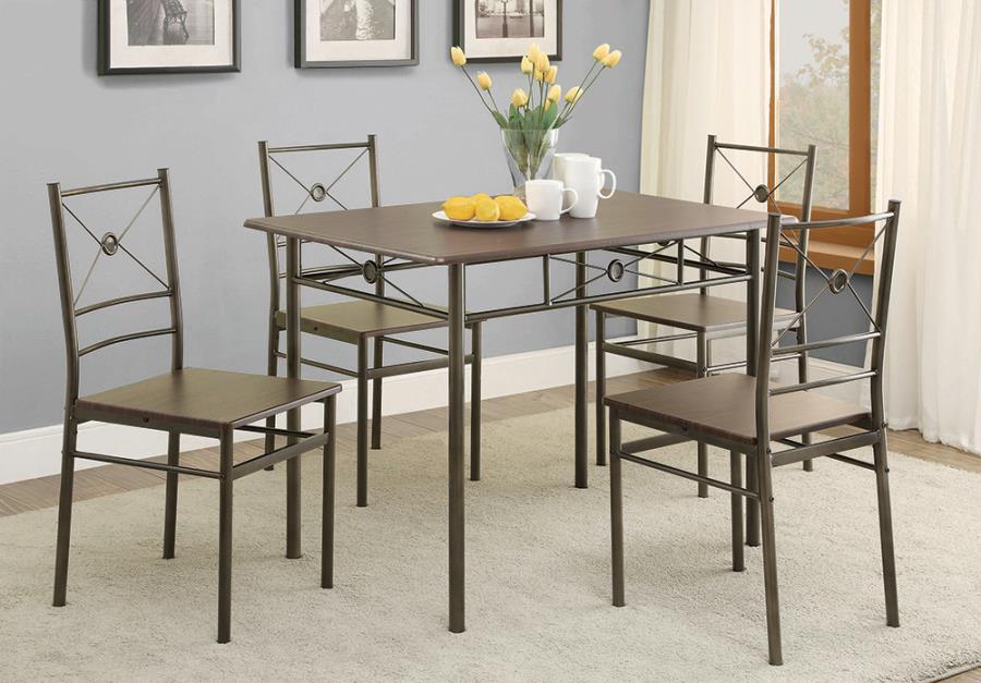 100033 5 pc Ebern designs mayflower dark bronze dining table set