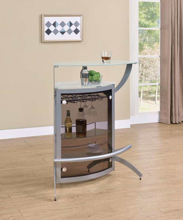 100135 Orren ellis home bar unit modern style silver finish curved front bar unit