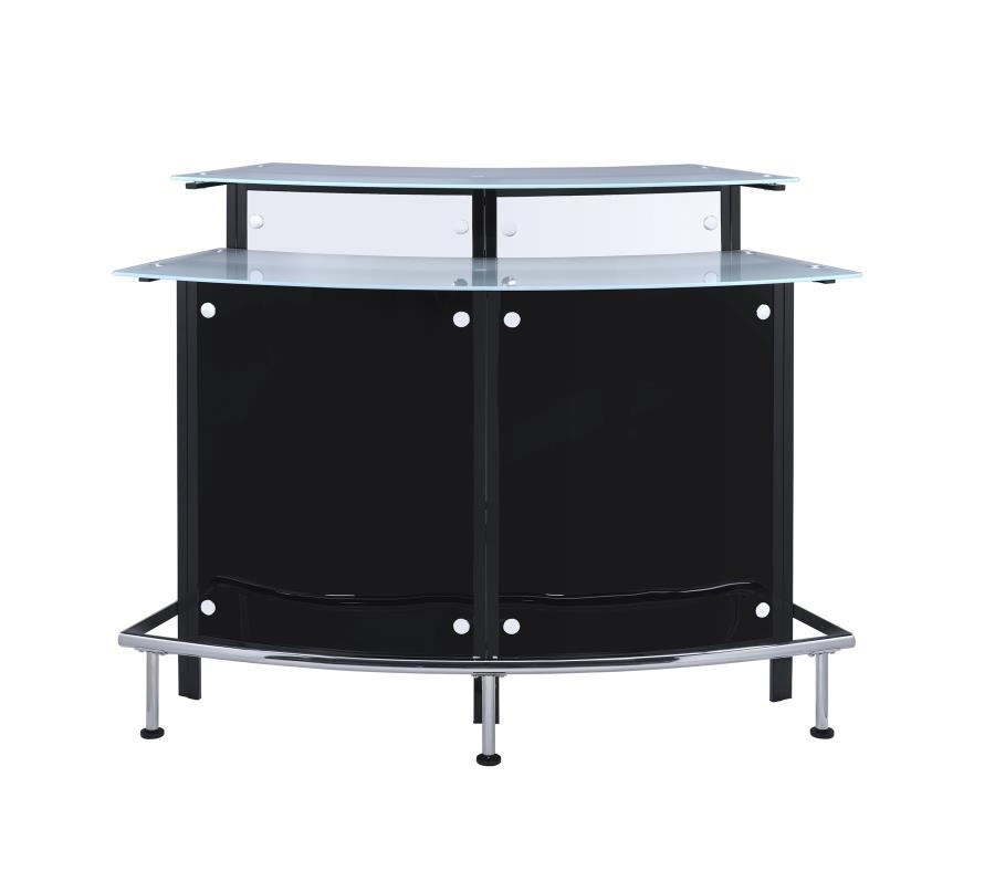 Home bar unit modern style black and chrome finish metal curved front bar unit with tempered frosted glass tops