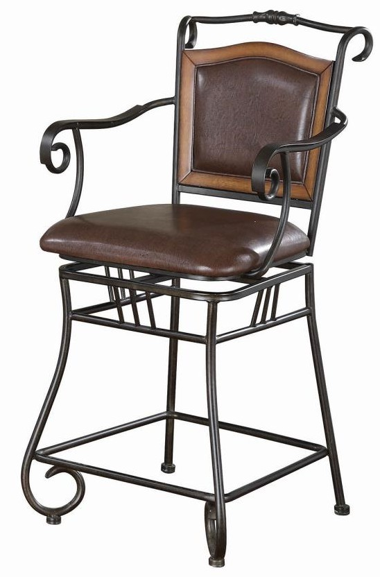 "100160 Bronze scrolled metal design 24"" seat swivel leatherette padded seat bar stool"