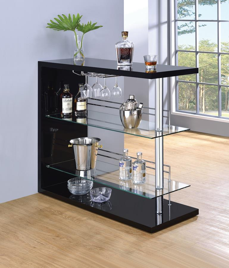 100165 Ebern designs teeken modern style black high gloss finish bar unit with tempered glass shelves