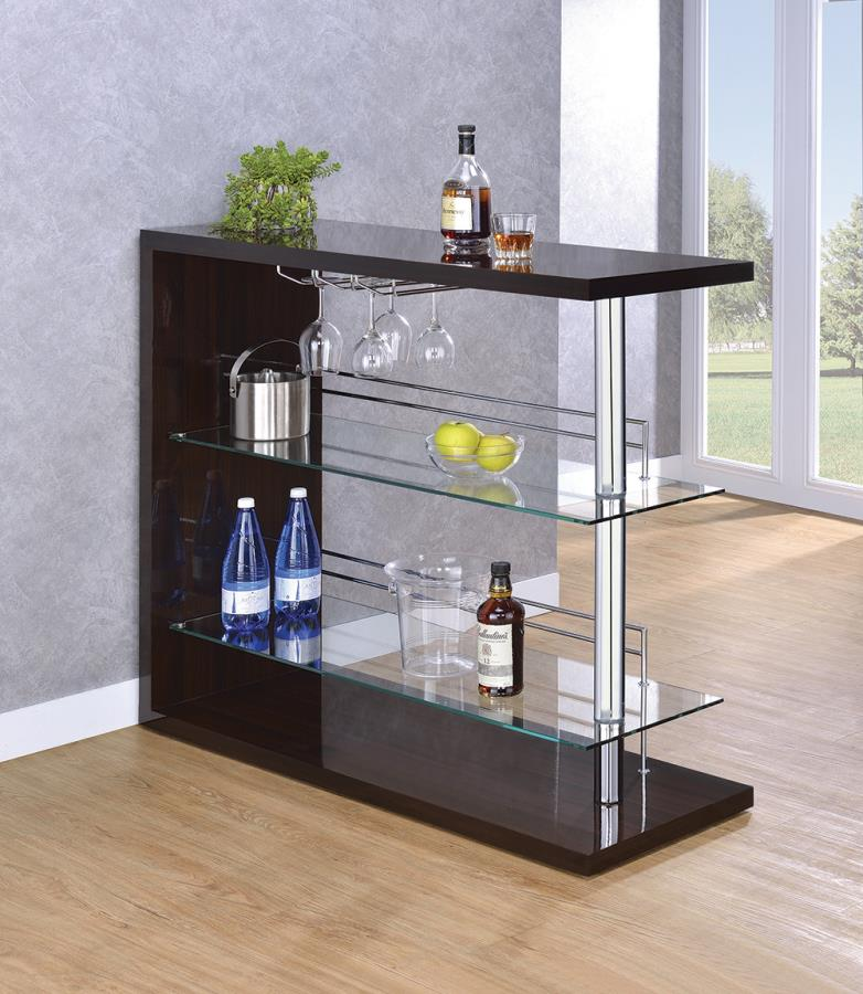 100166 Ebern designs teeken modern style espresso high gloss finish bar unit tempered glass shelves