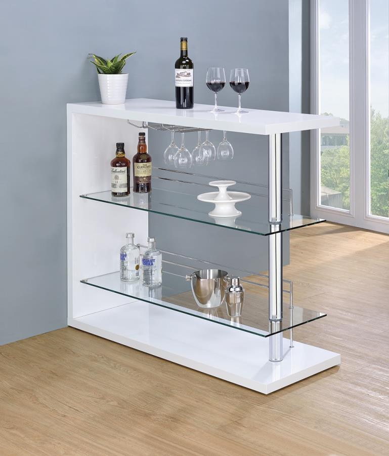 100167 Wildon home fairline modern style white high gloss finish bar unit with tempered glass shelves