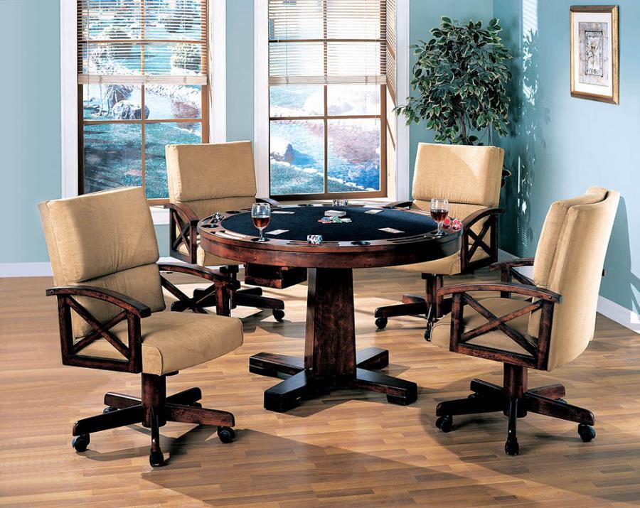 100171-72 5 pc Millwood pines walser marietta man cave walnut brown finish wood game room table , poker, bumper pool, dining