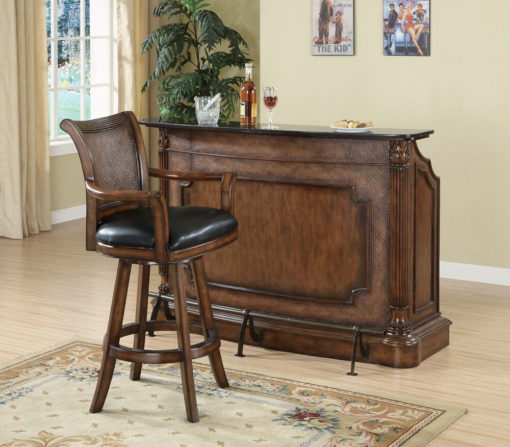 100173 Darby home co Ansel warm brown finish wood home bar unit with decorative front and foot rail