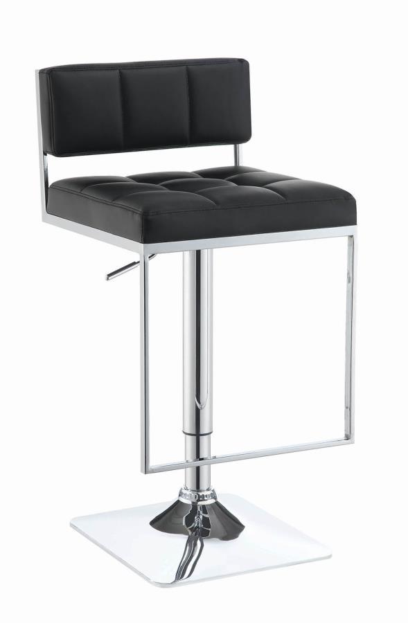 100194 Black faux leather adjustable height bar stool chrome base