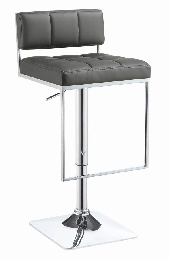 100195 Gray faux leather adjustable height bar stool chrome base
