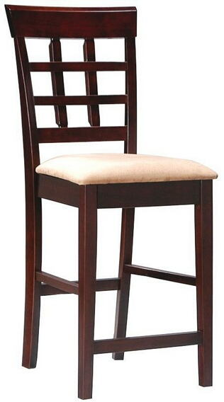 100209 Set of 2 espresso finish wood counter height chairs with upholstered seat and grid back