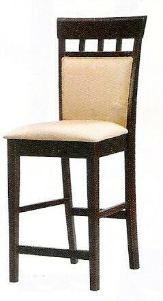 Set of 2 espresso finish wood counter height chairs with upholstered seat and back