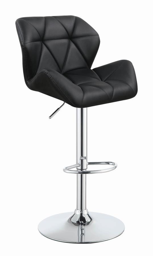 100425 Set of 2 black faux leather adjustable height bar stool chrome base