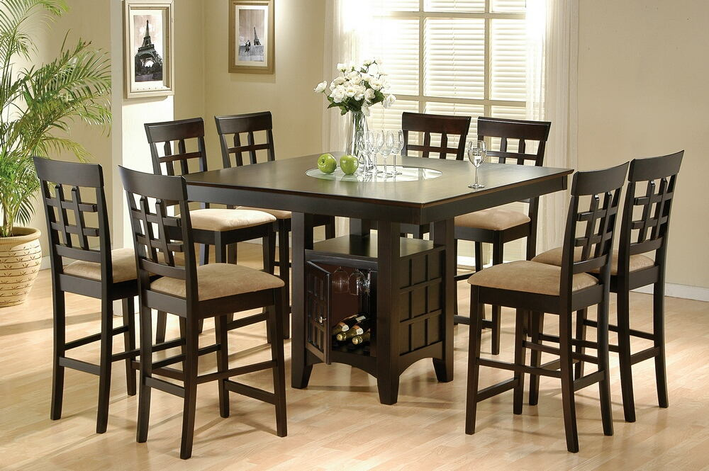 100438-209 7 pc cleveland collection espresso finish wood counter height dining table set with built in lazy susan