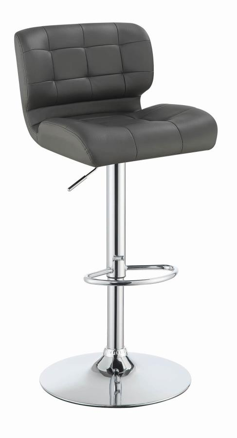 100545 Set of 2 gray faux leather adjustable height bar stool chrome base
