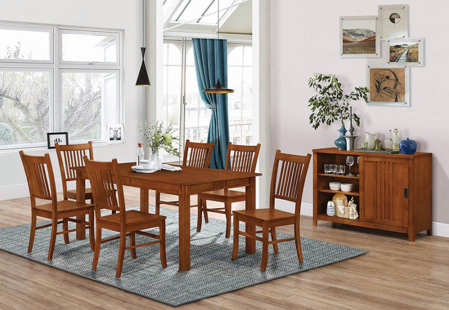 100621 7 pc Alcott hill pemberville marbrisa medium brown wood finish dining table set
