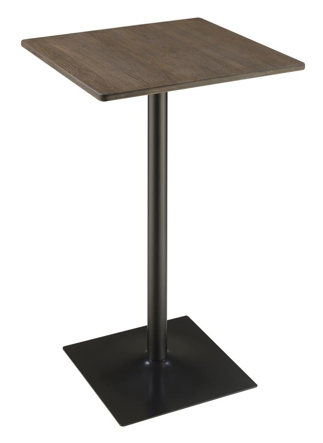 100730 Williston forge industrial dark elm finish wood matte black metal square bar table