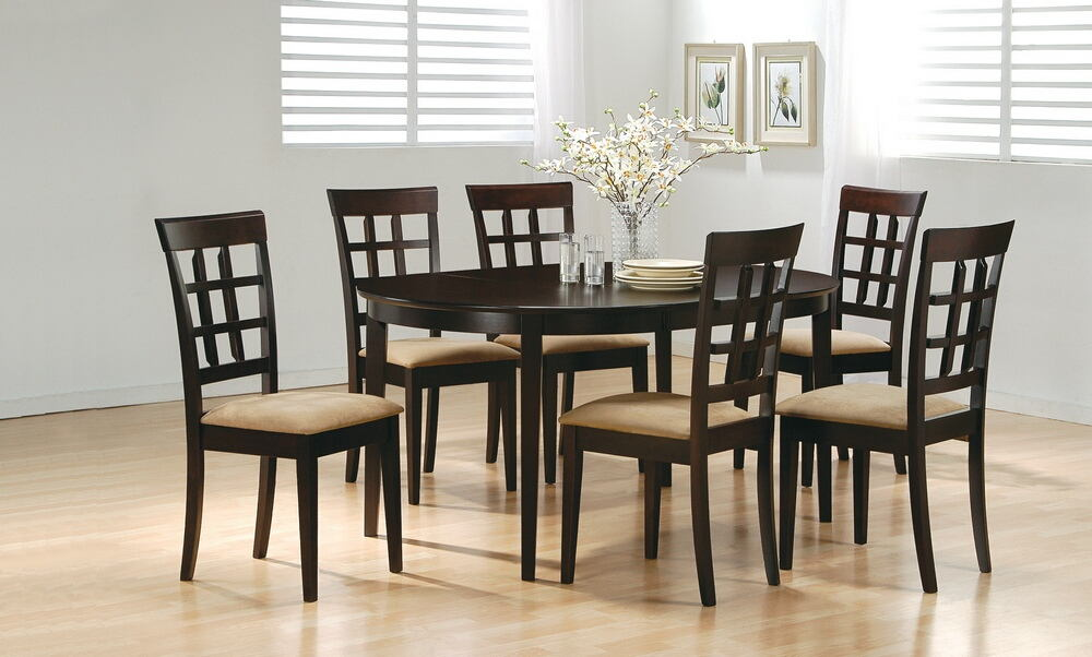 5 pc monrovia collection espresso finish wood oval top dining table set