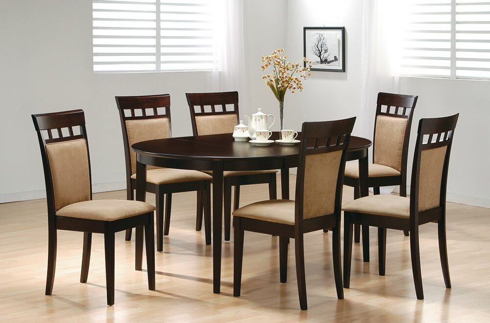 5 pc monrovia ii collection espresso finish wood oval top dining table set