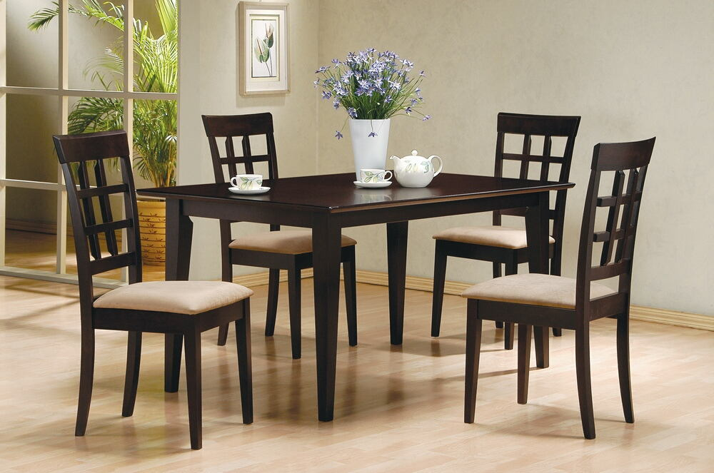 Coaster 100771-72 5 pc chicago collection espresso finish wood rectangular top dining table set